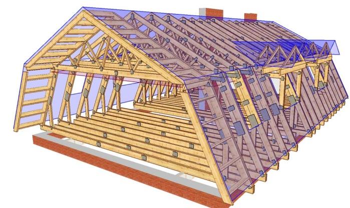 Устройство и крепление стропил и основных узлов мансардной крыши