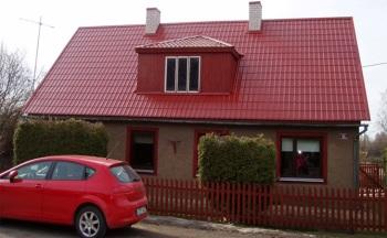 Установка металлочерепицы на двухскатную крышу