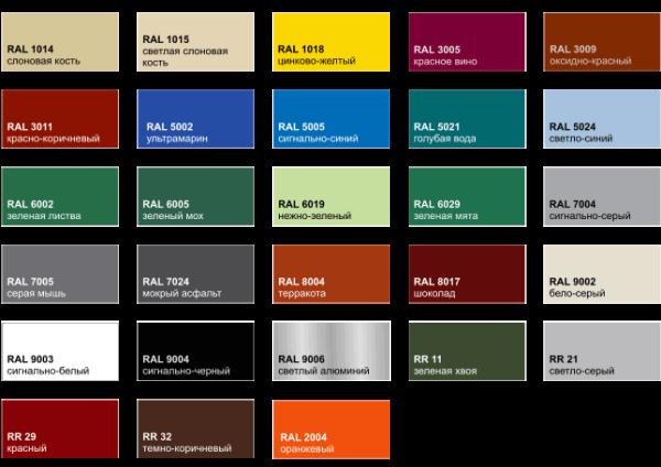 Популярная палитра цвета металлочерепицы